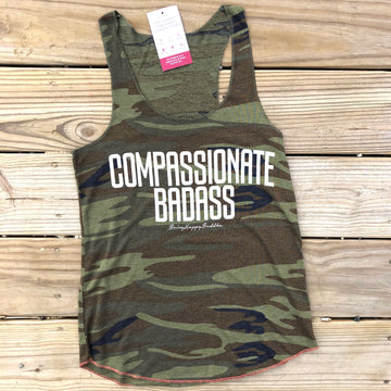Compassionate Badass Eco Tank Camo Green - Being Happy Buddha