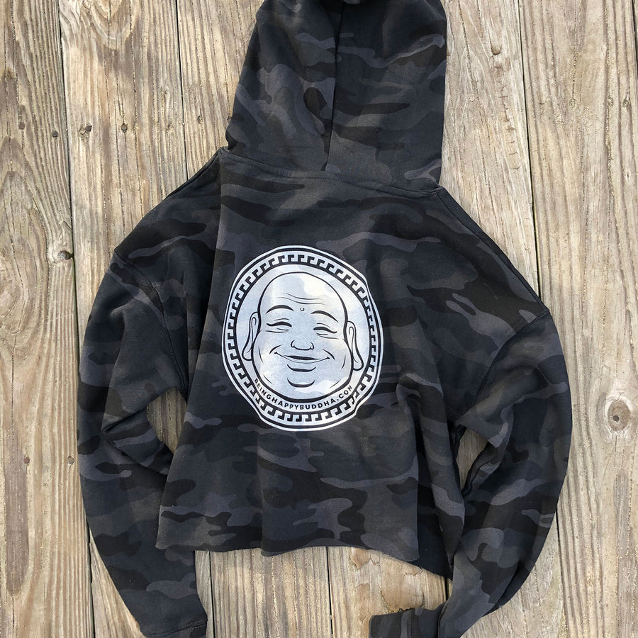 Compassionate Badass Crop Hoodie Camo - Being Happy Buddha