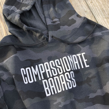 COMPASSIONATE BADASS CROPPED CAMO HOODIE