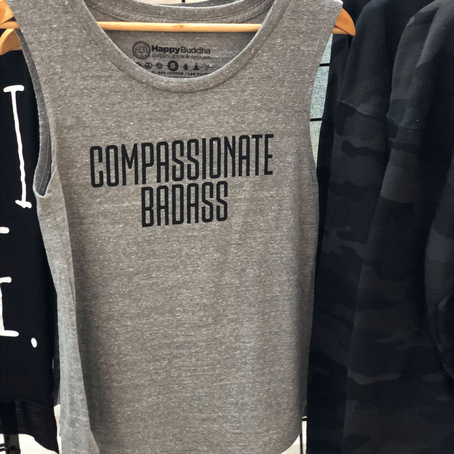 Compassionate Badass Triblend Muscle Tank - Being Happy Buddha