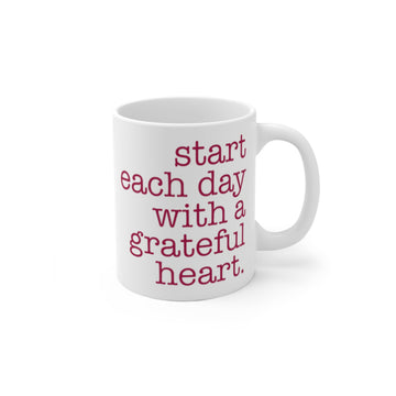 HAPPY BUDDHA GRATITUDE HEART MUG