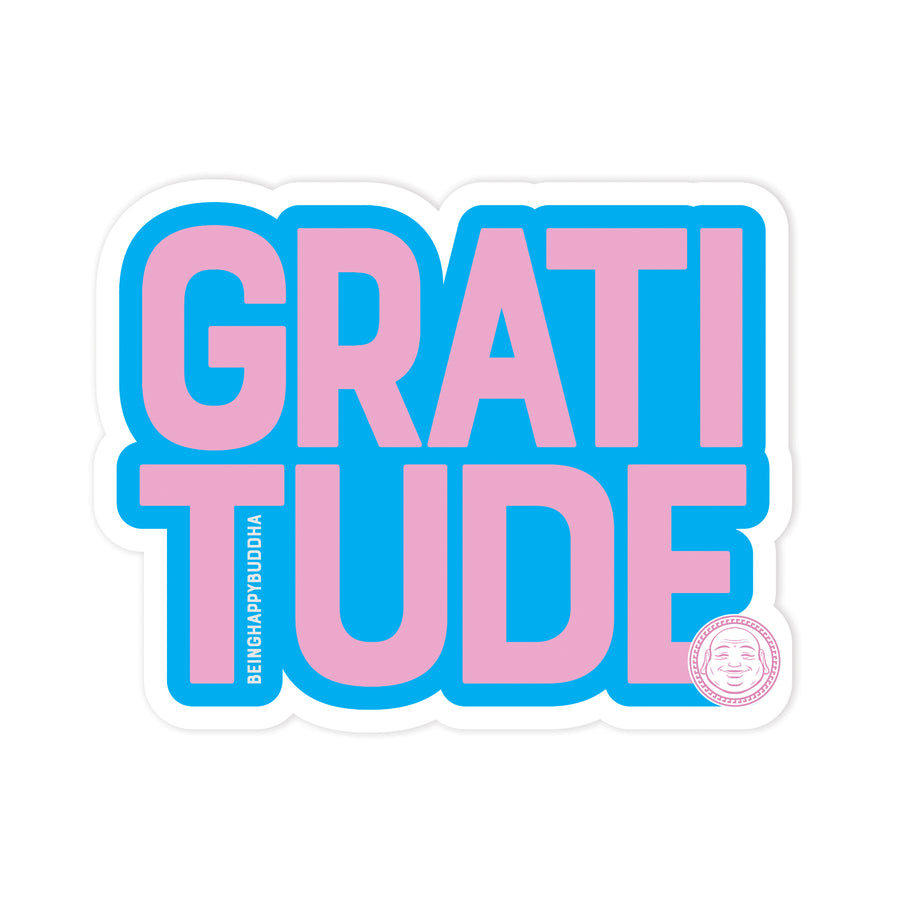 Gratitude Sticker - Being Happy Buddha