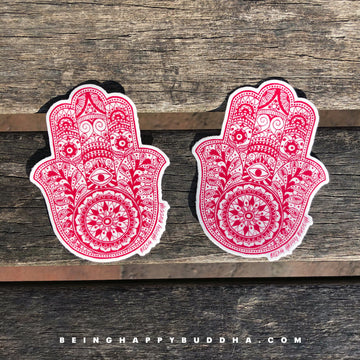 Hamsa Stickers - Being Happy Buddha