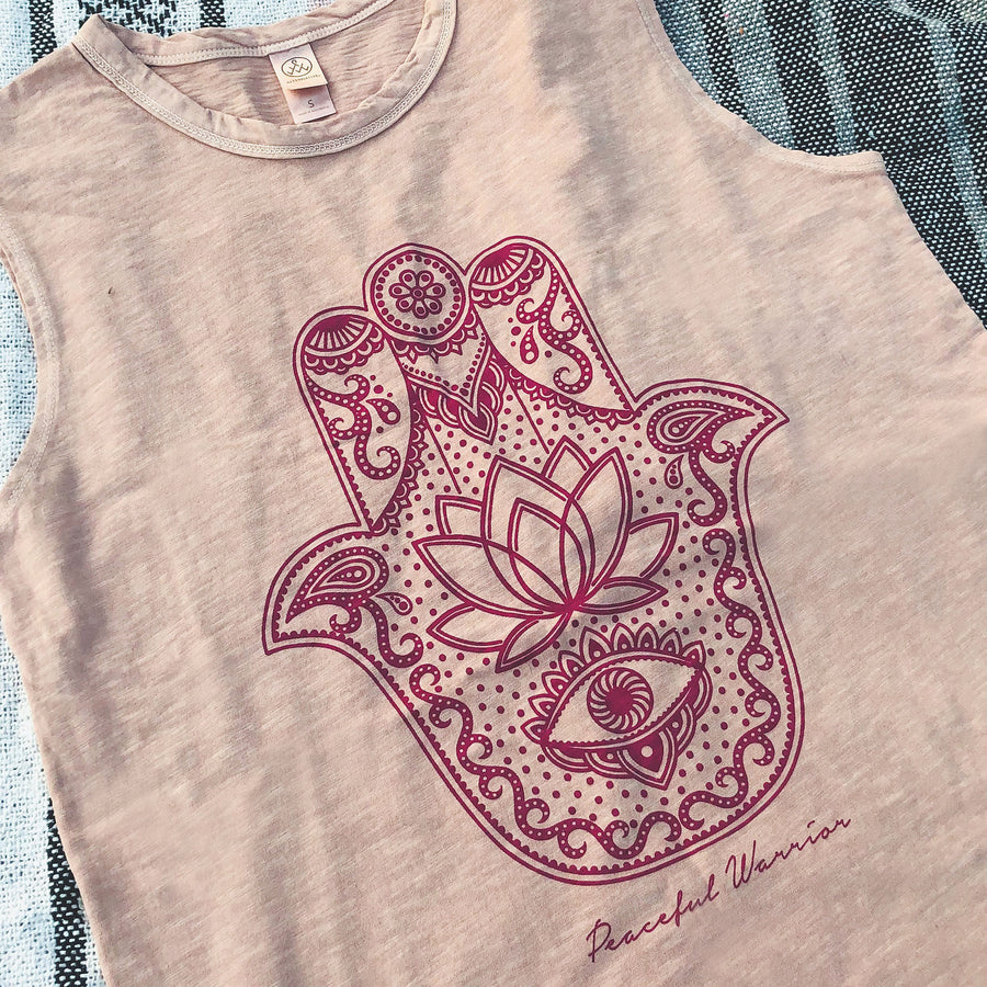Hamsa Muscle Tank - Being Happy Buddha