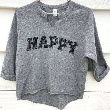 Happy Eco-Fleece Grey - Being Happy Buddha