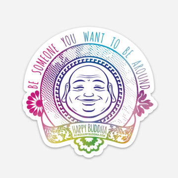 Happy Buddha Flower Sticker - Being Happy Buddha