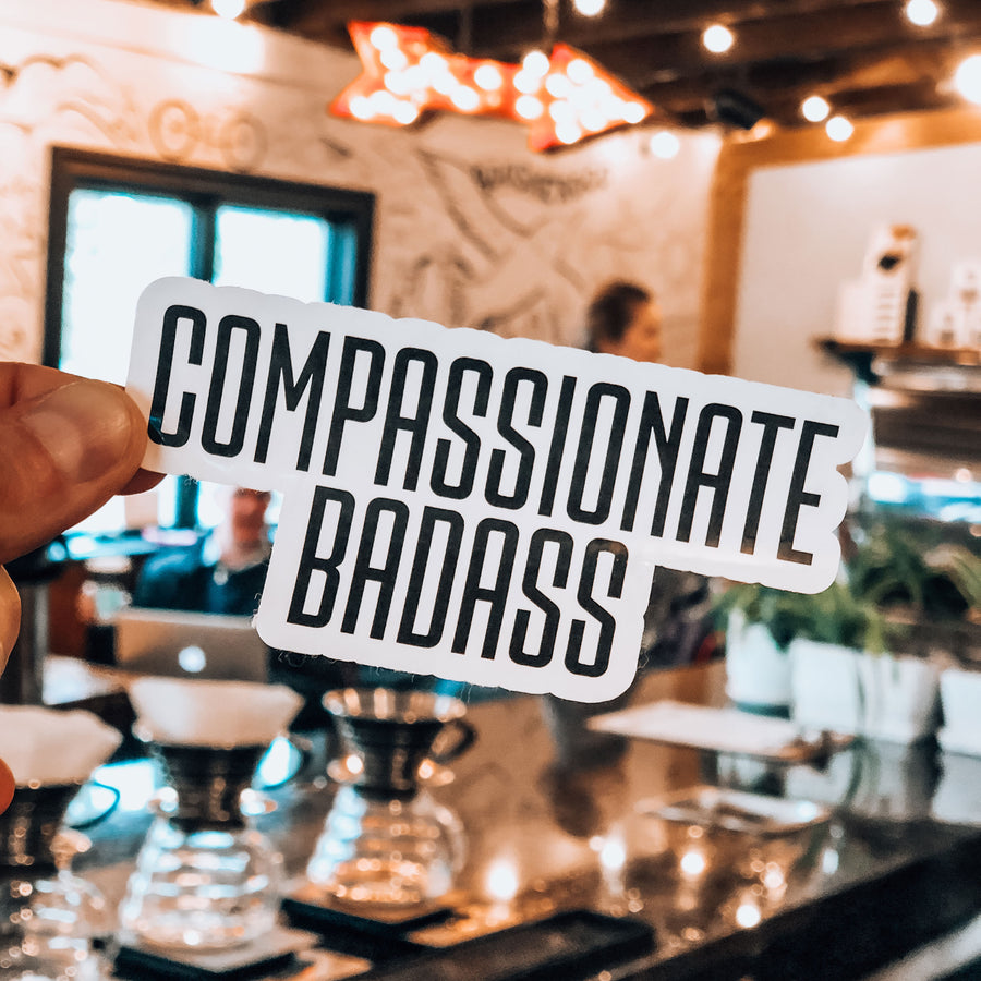 Compassionate Badass Sticker - Being Happy Buddha