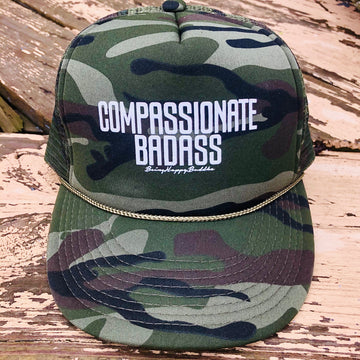 Compassionate Badass Camo Trucker - Being Happy Buddha