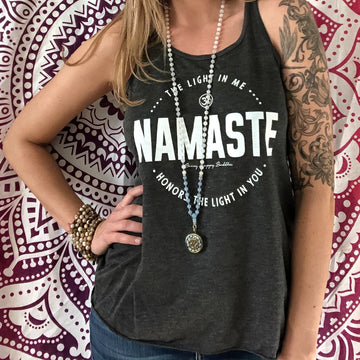 Namaste Flowy Tank - Being Happy Buddha