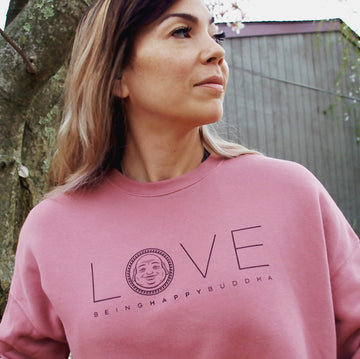 Love Crop Sweatshirt - Being Happy Buddha
