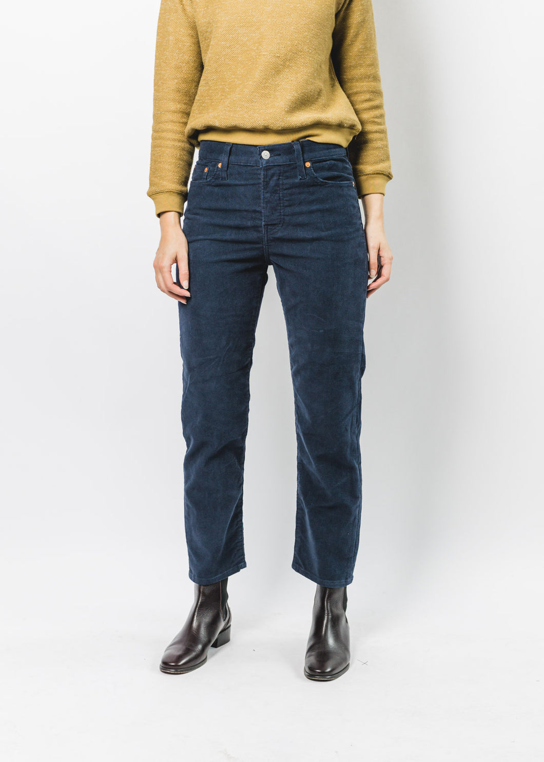 LEVIS WOMENS WEDGIE STRAIGHT NAVY CORDS