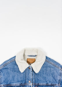 LEVIS WOMENS EXTRA LONG SHERPA TRUCKER JACKET