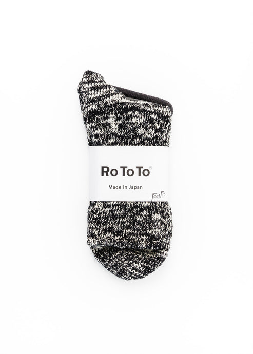 ROTOTO BLACK SLUB SOCKS