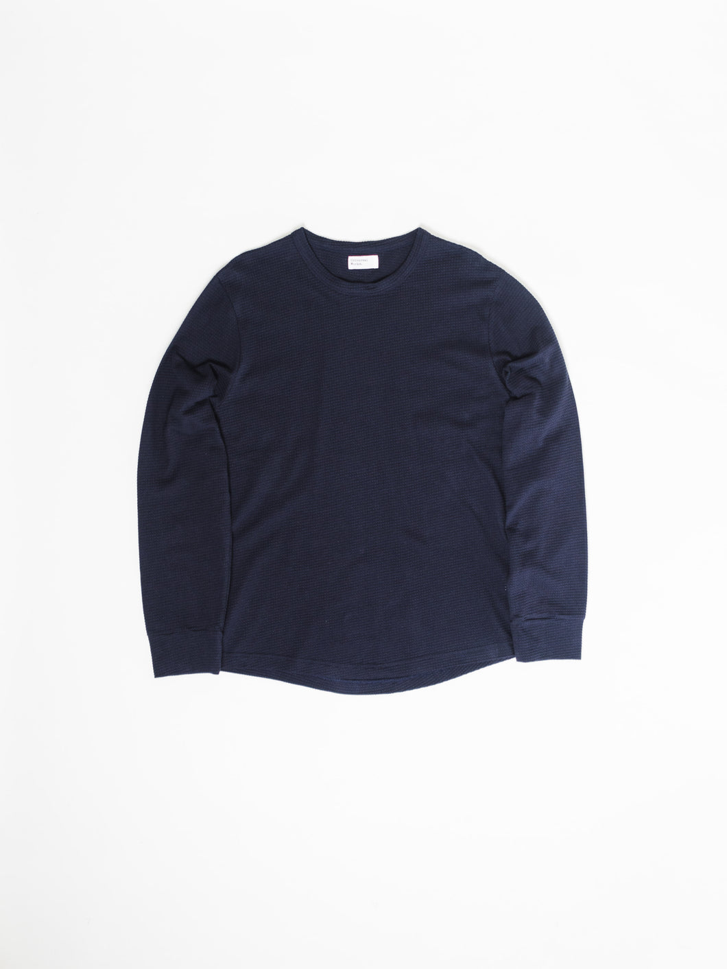 UNIVERSAL WORKS NAVY LONG SLEEVE WAFFLE CREW