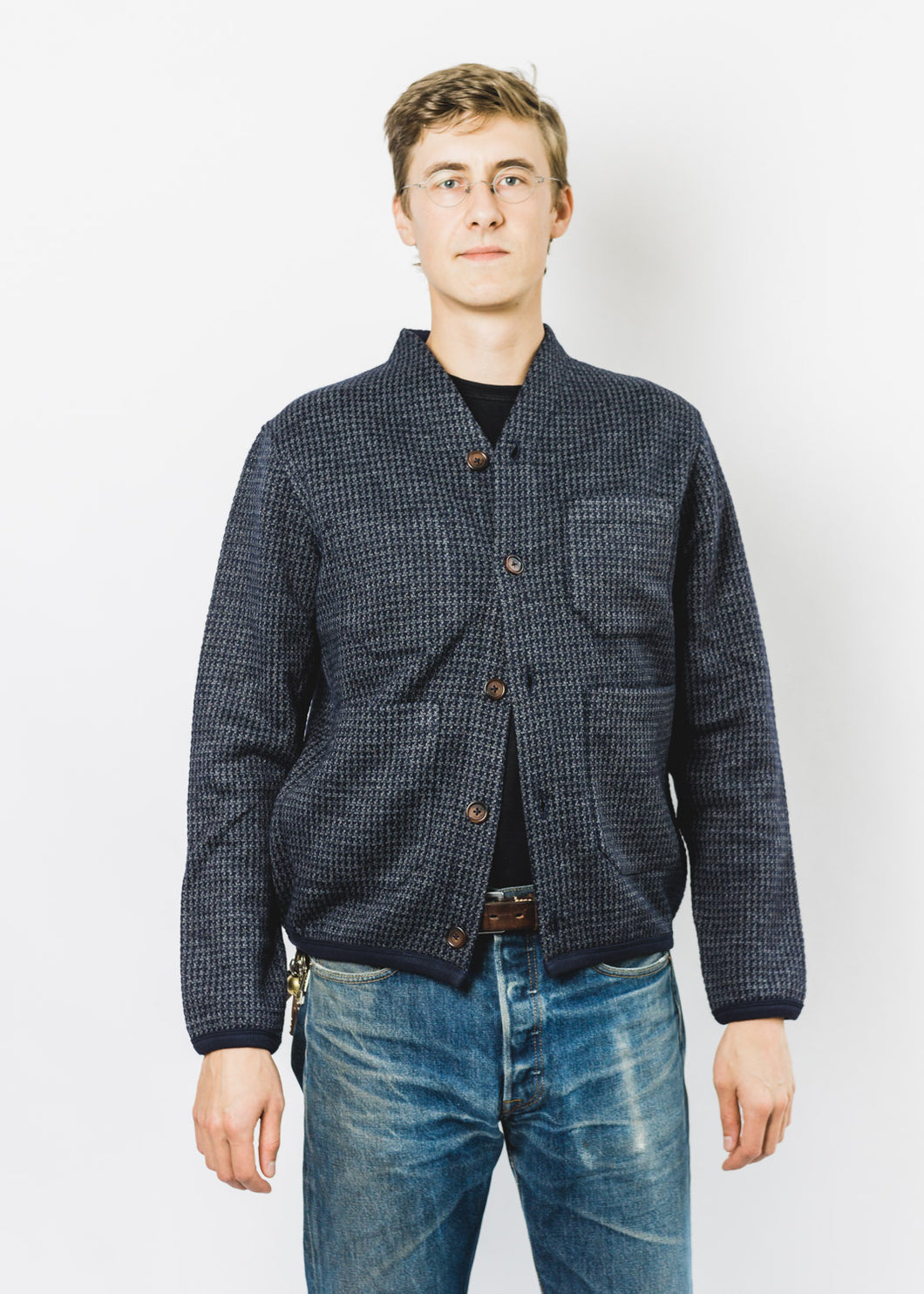 UNIVERSAL WORKS HOUNDSTOOTH CARDIGAN
