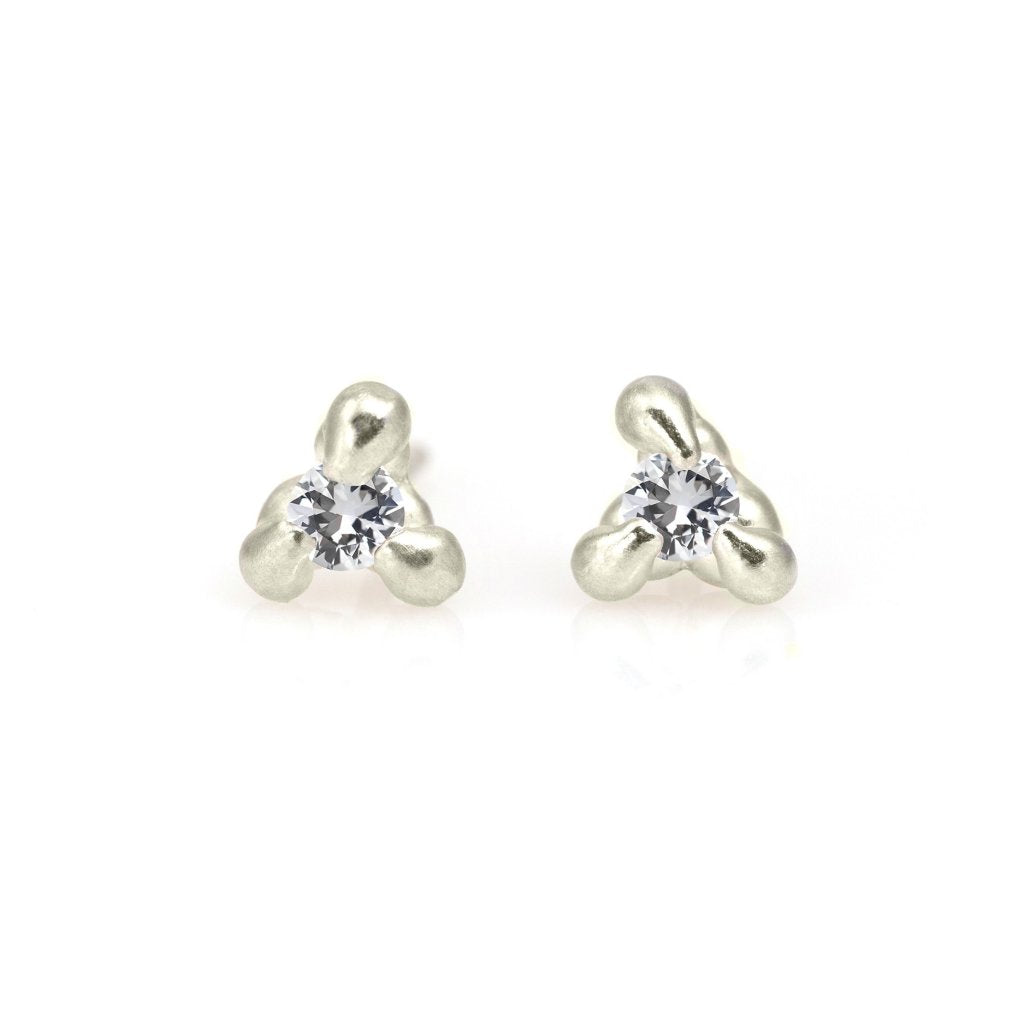 3 Prong White Sapphire Studs