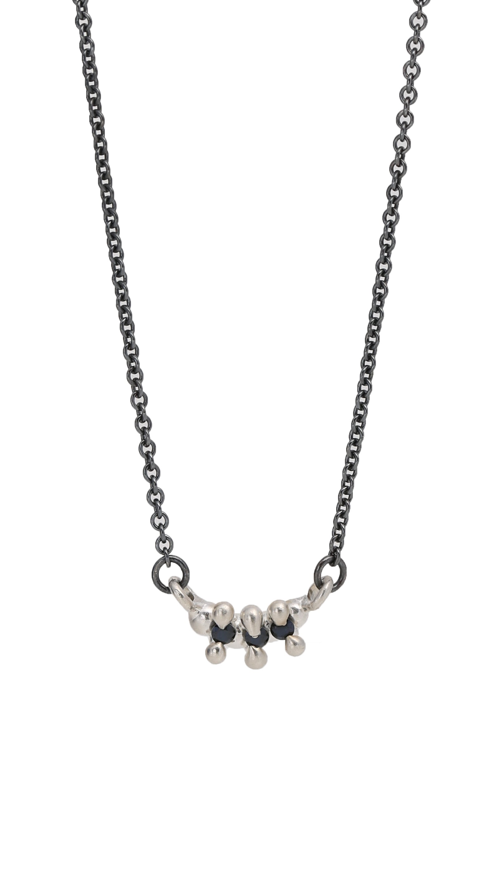 3 Stone Bar Necklace Black Spinel