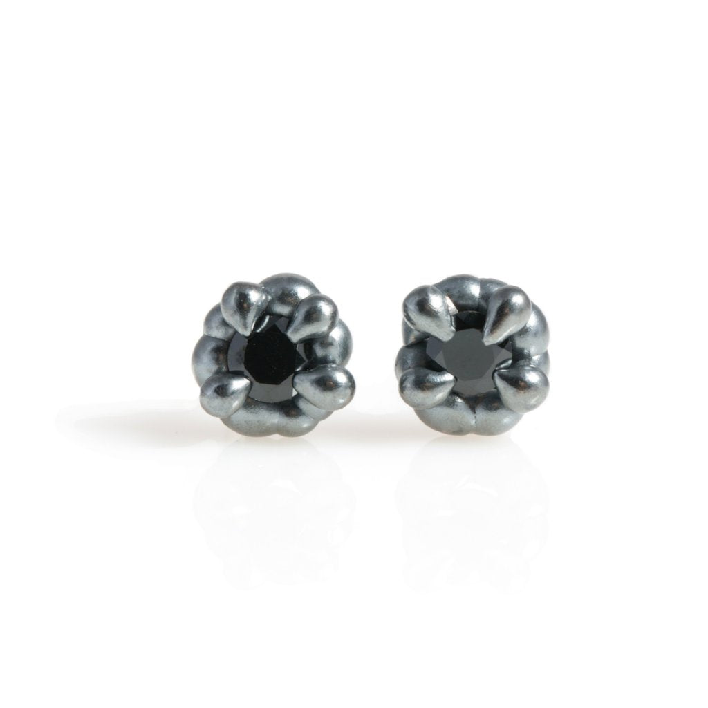 4 Prong Black Spinel Studs