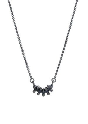 5 Stone Bar Necklace Black Spinel