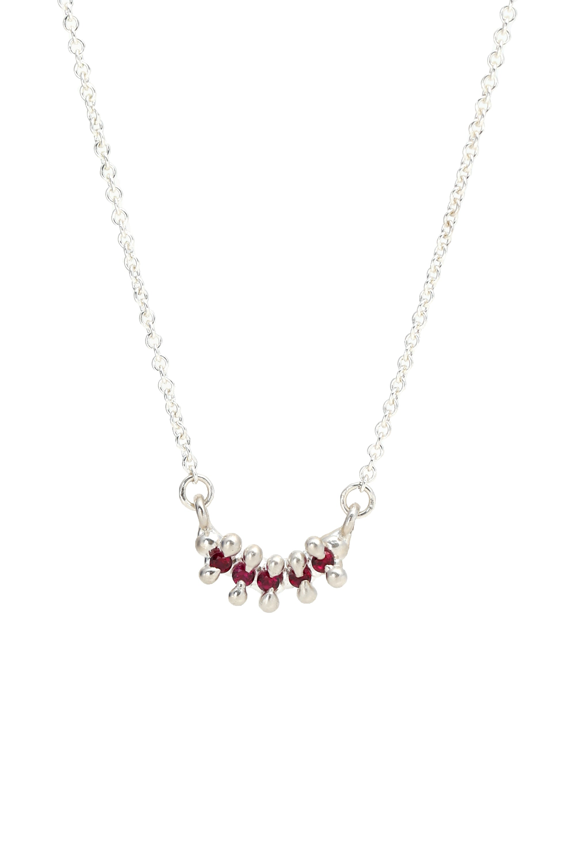 5 Stone Bar Necklace Garnet