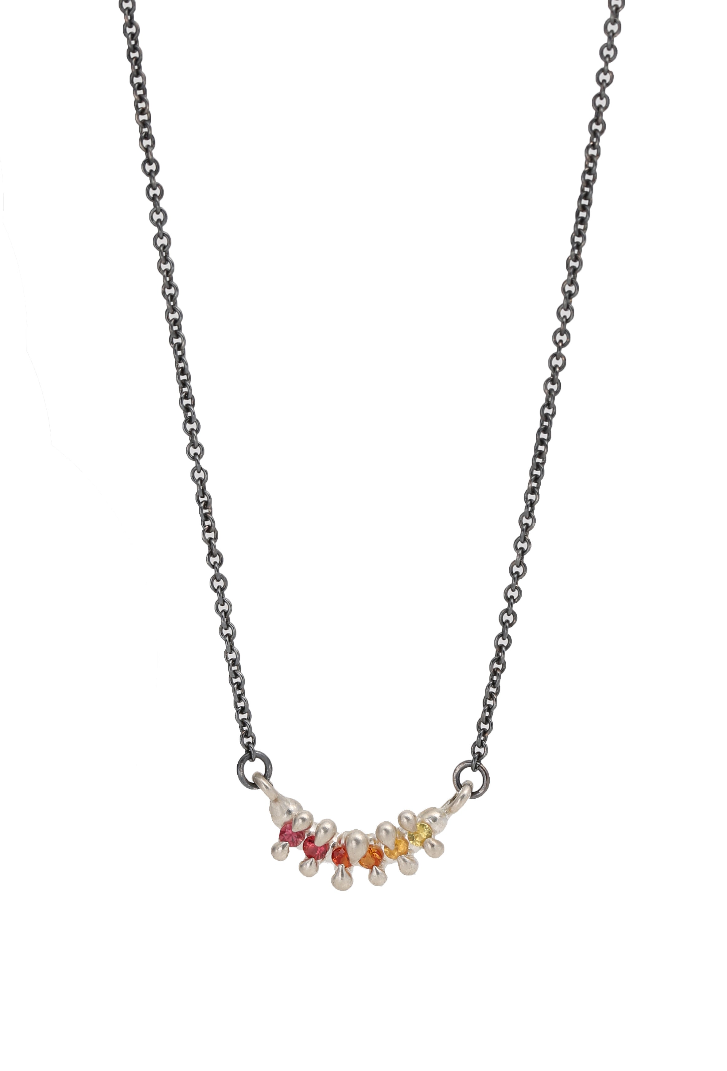 Limited Edition 6 Stone Bar Necklace Ombré Sapphires