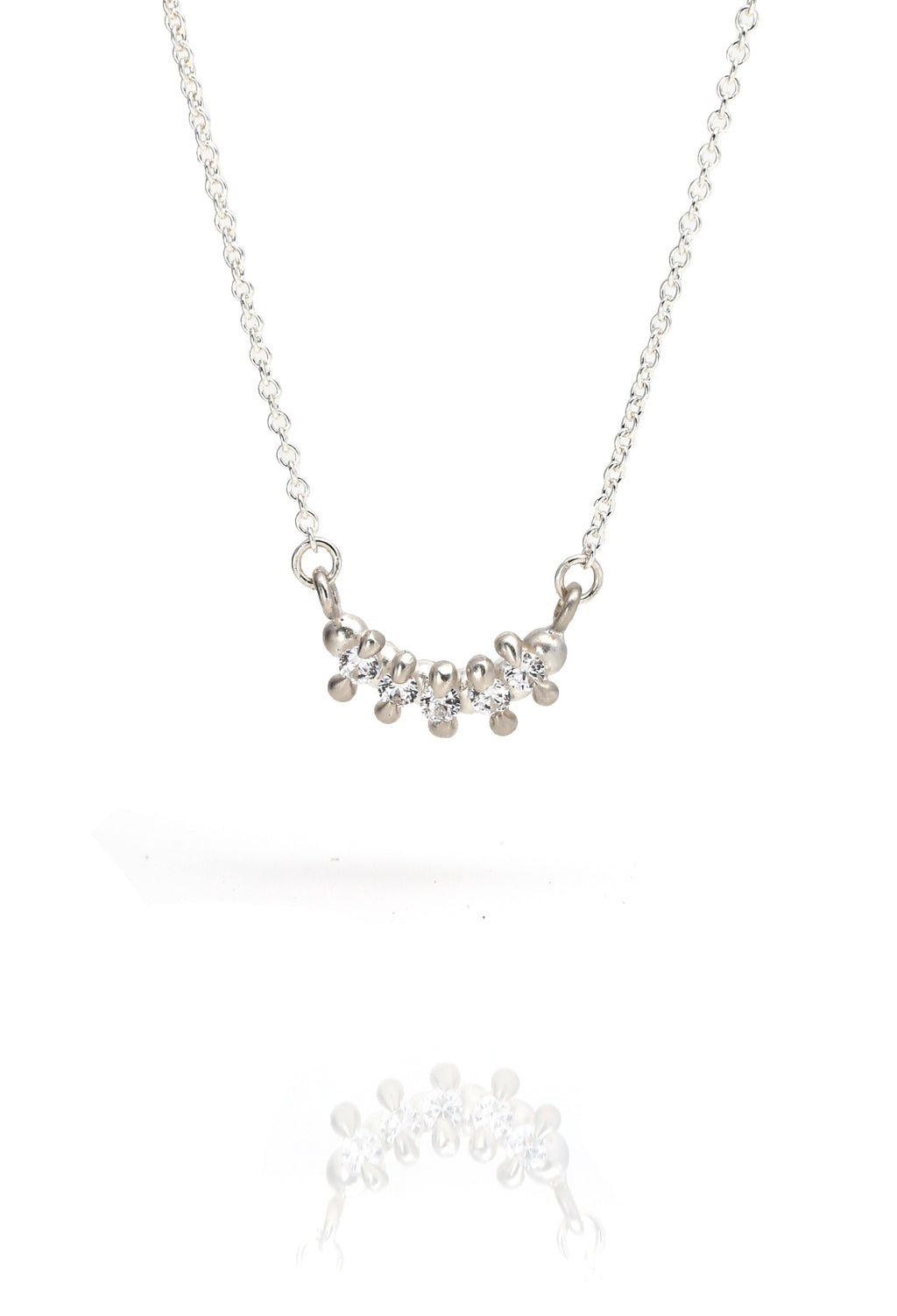 5 Stone Bar Necklace White Sapphire