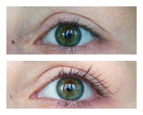 Before and after, thicker and longer eyelashes