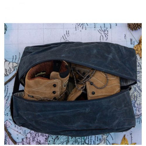 Waxed Canvas Travel Shoe Bag
