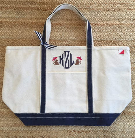 Navy Canvas Boat Tote - Large