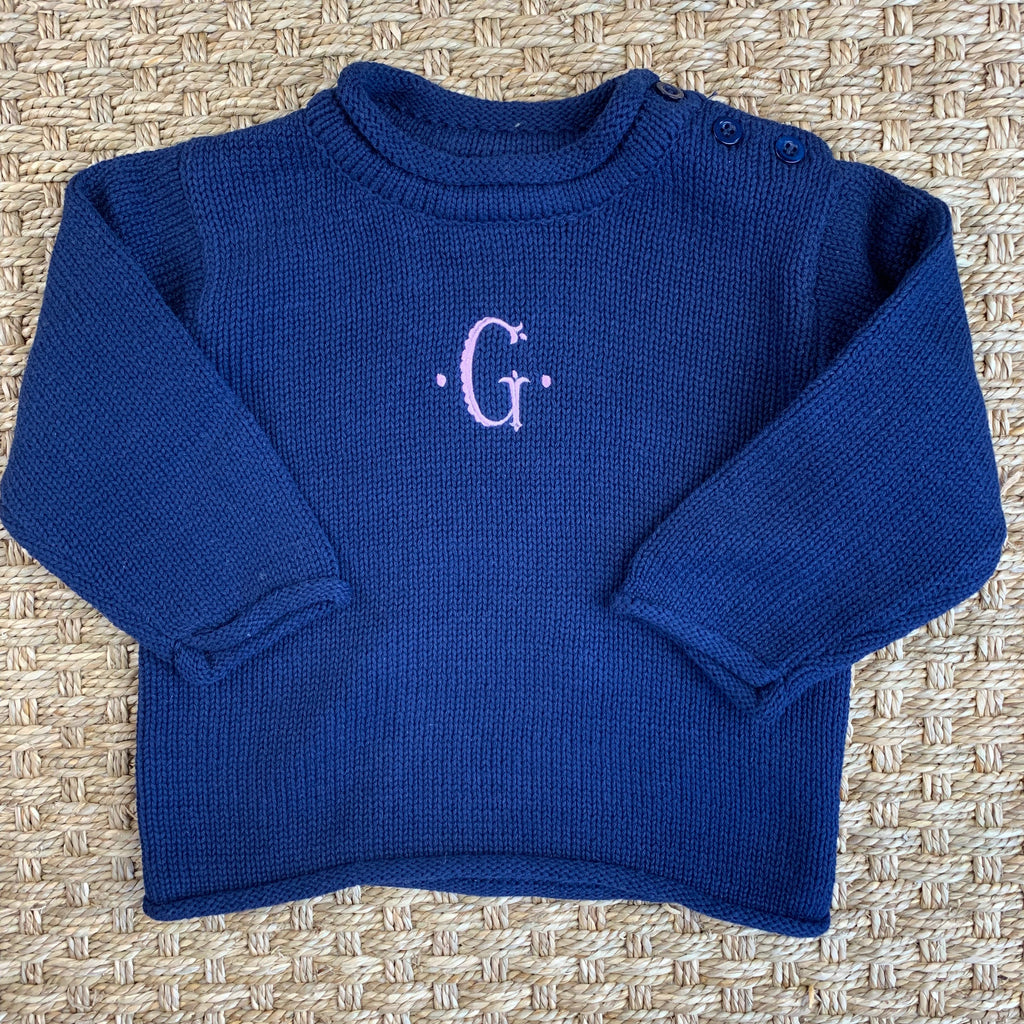 Roll Neck Navy Cotton Sweater