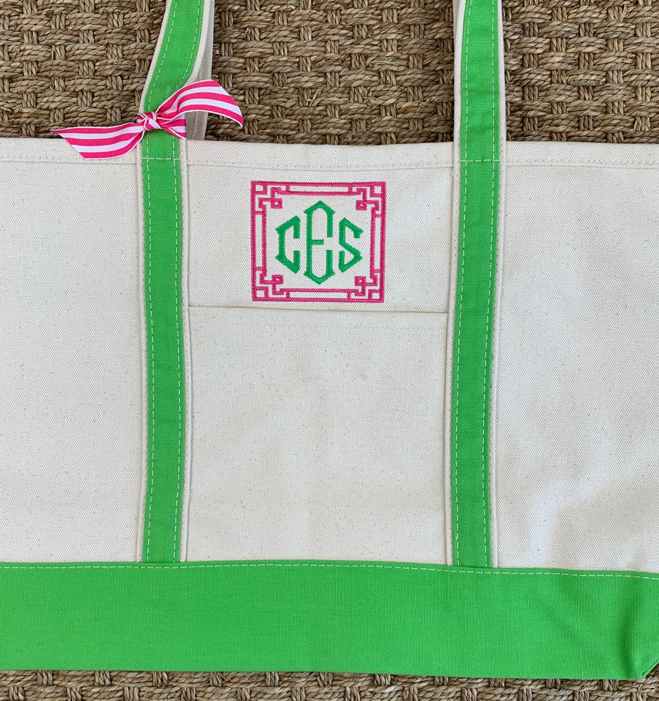 Green Canvas Boat Tote - Medium