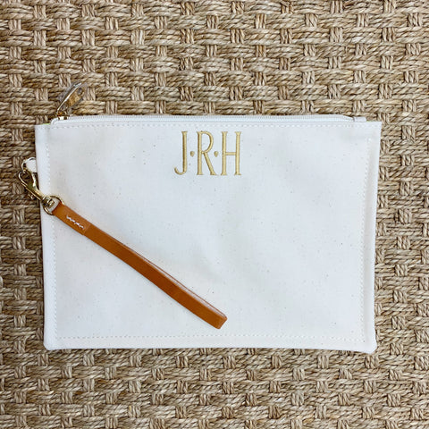 Coated Canvas Ivory Clutch