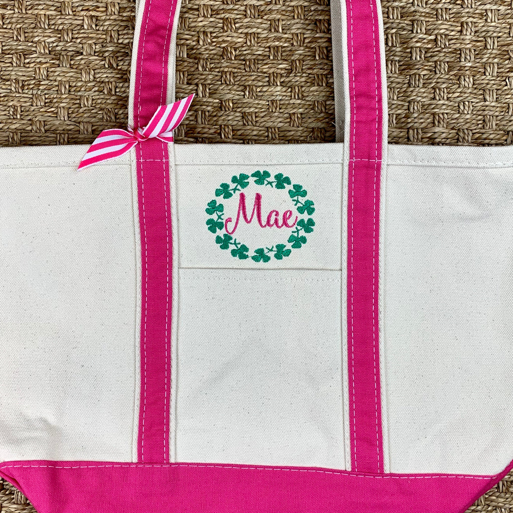 Pink Canvas Boat Tote - Medium