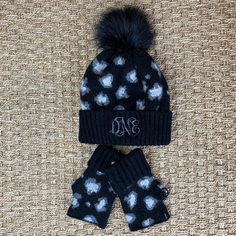 Leopard Hat and Fingerless Glove Set - Black