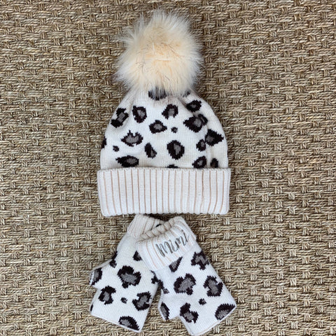 Leopard Hat and Fingerless Glove Set - Beige