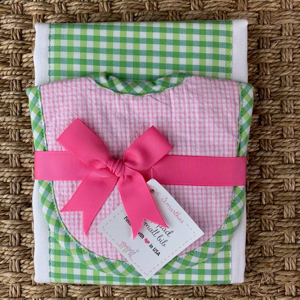 Bib & Drooler Set - Pink & Green Check