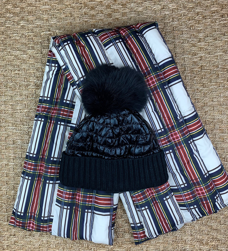 Plaid Puffer Scarf and Hat
