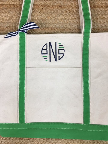 Green Canvas Boat Tote - Large