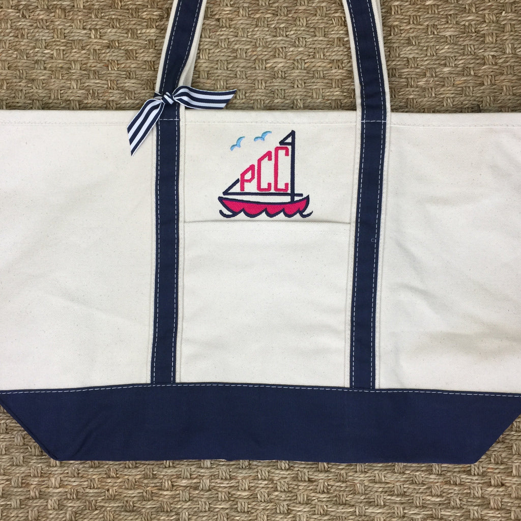 Navy Canvas Boat Tote - Medium