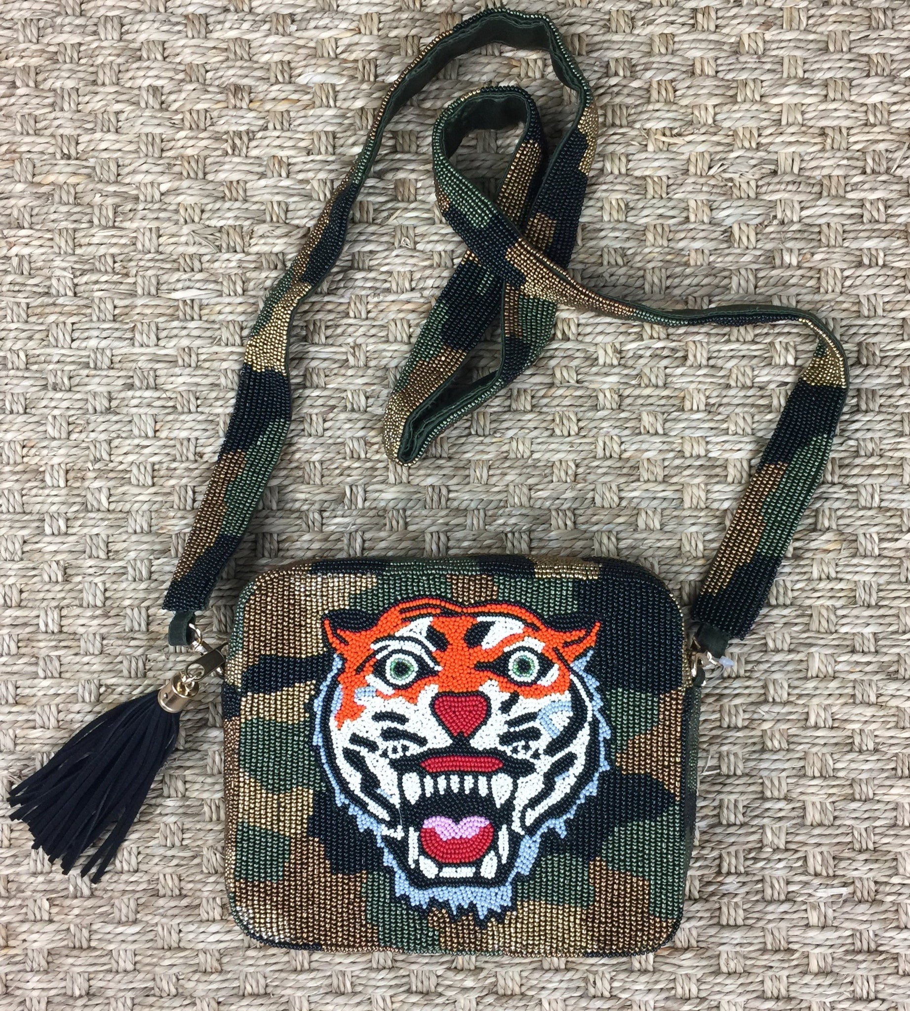 Beaded Camouflage and Tiger Crossbody Bag