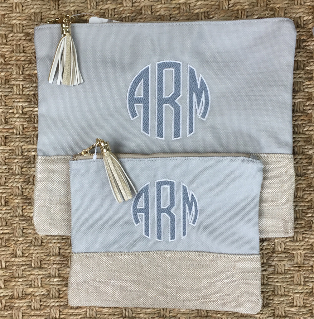Linen Pouch Set - Grey