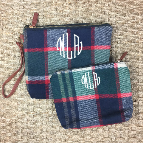 Plaid Wool Pouch Set