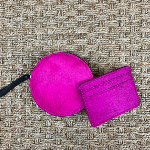 Hide Round Pouch & Card Holder Set