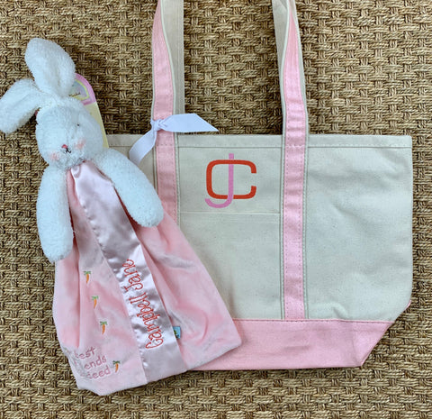 A Bunny & A Boat Tote - Pink Metallic