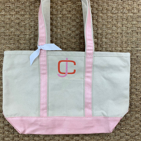 Pink Metallic Medium Canvas Boat Tote