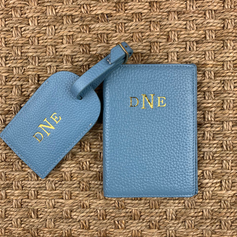 Leather Luggage Tag and Passport Set