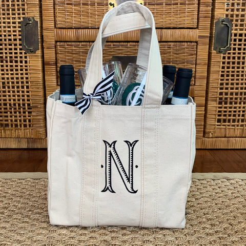 Canvas Market Tote and Bottle Carrier