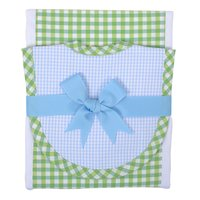 Bib & Drooler Set - Blue & Green Check