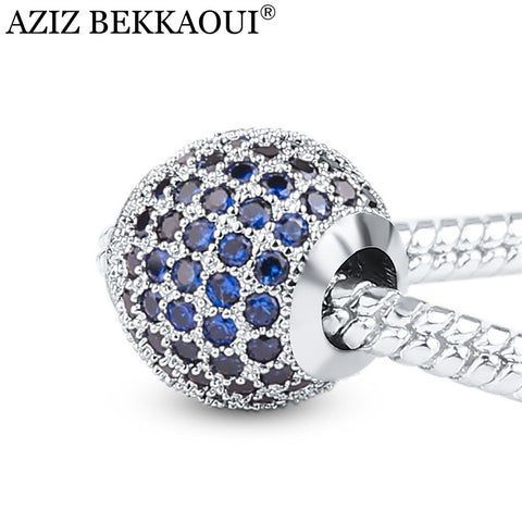 AZIZ BEKKAOUI Blue Cubic Zirconia Charms Fit Pandora Bracelet Necklace European Style Diy Crystal Beads Luxury Charms For Women