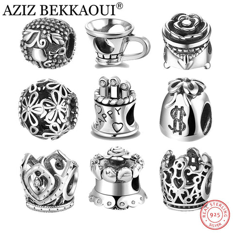 AZIZ BEKKAOUI Authentic 925 Sterling-silver-jewelry Beads fit Pandora Bracelet Retro Black Silver Rose Charms for Jewelry Making